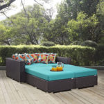Turquoise 4 Piece Patio Daybed with Cushions