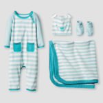 Organic Sweater Romper, Hat, Bootie and Blanket Set