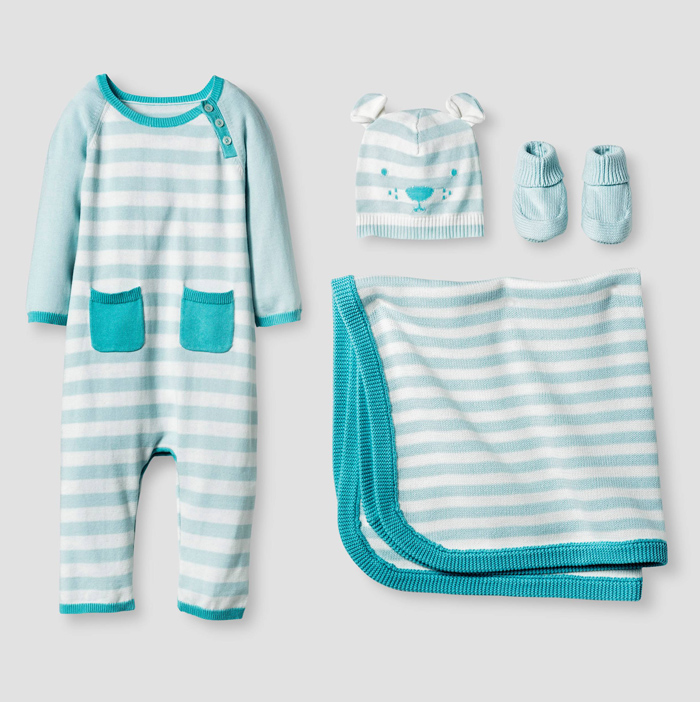Turquoise Organic Sweater Romper, Hat, Bootie and Blanket Set
