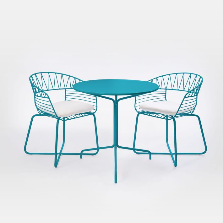 Turquoise Soleil Metal Outdoor Bistro Dining Set