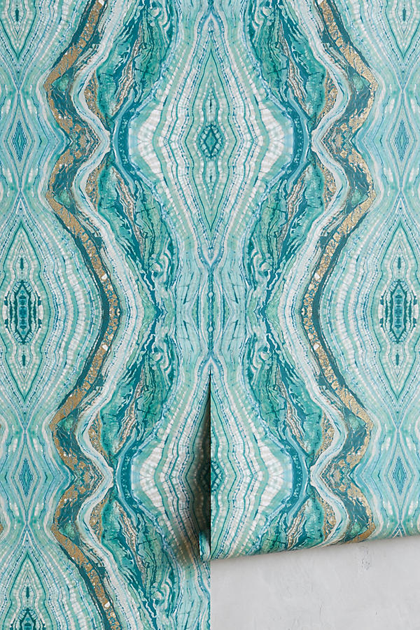 Turquoise Striation Wallpaper