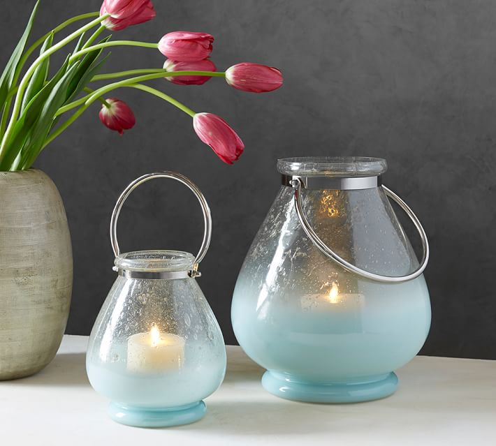 Bubble Glass Zinc Lantern