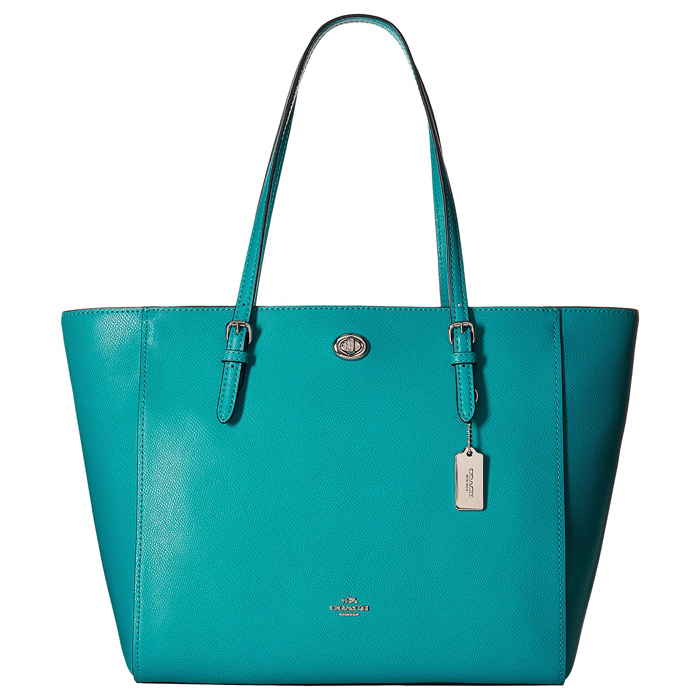 COACH Crossgrain Turnlock Tote in Turquoise