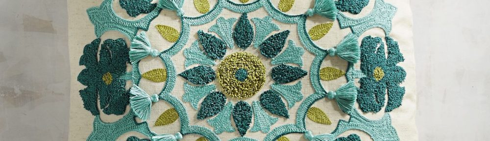 Fringed Turquoise Medallion Pillow