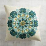 Fringed Turquoise Medallion Pillow