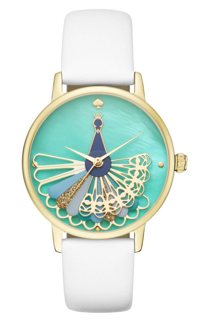 Kate Spade Metro Peacock Leather Strap Watch