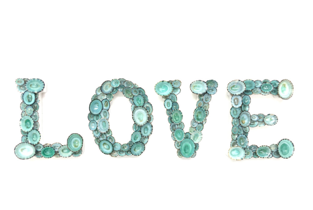"""LOVE"" Letters with Natural Blue Green Limpet Shells"