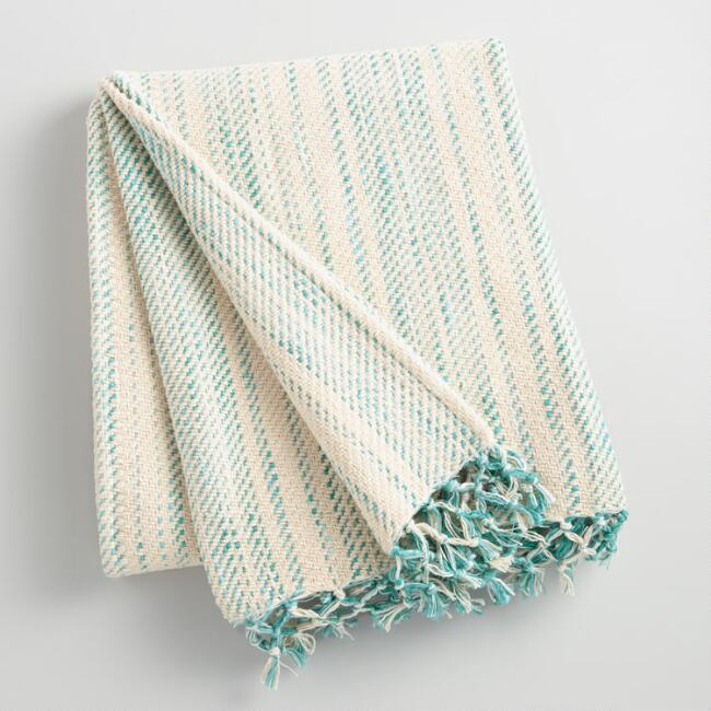 Teal Stripe Variegated Throw