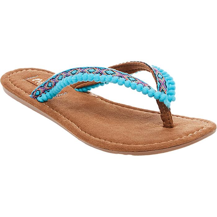 Turquoise Alice Pom Pom Sandals