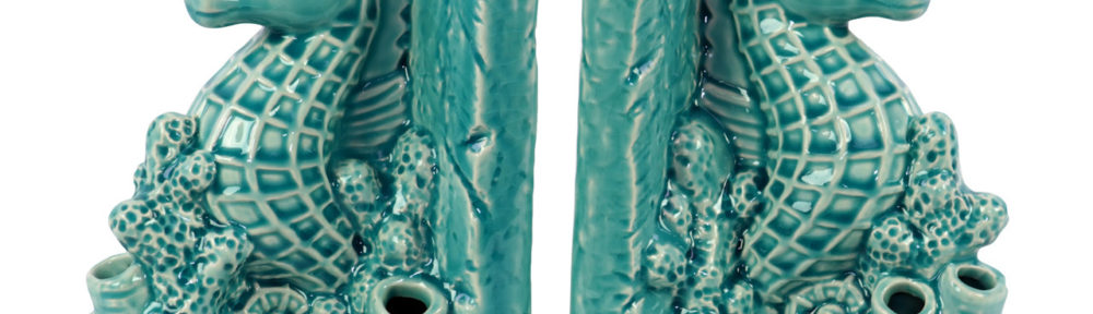Turquoise Ceramic Sea Horse Bookends