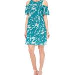 Turquoise Short Sleeve Shift Dress
