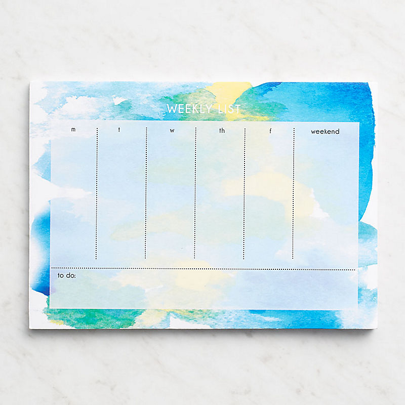 Watercolor Blue Weekly Deskpad