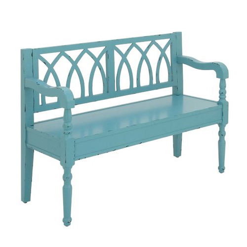 Rustic Reflections Wood Entryway Bench Cyan Mixed Mdf And Chinese Fir With Weathered Finish Features Modern Pattern On The Back Rest