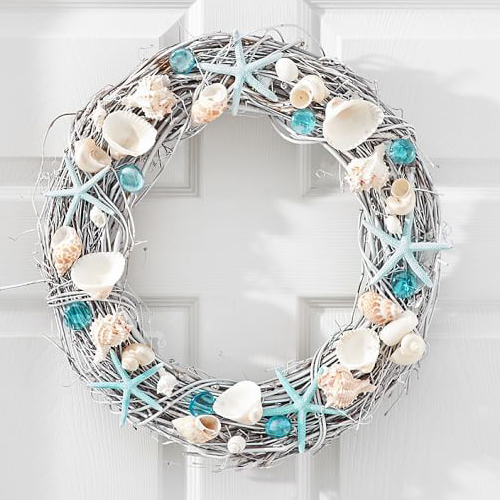 Live Dried Blue Seashell Wreath