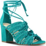 Nine West Genie Lace-Up Sandal in Turquoise
