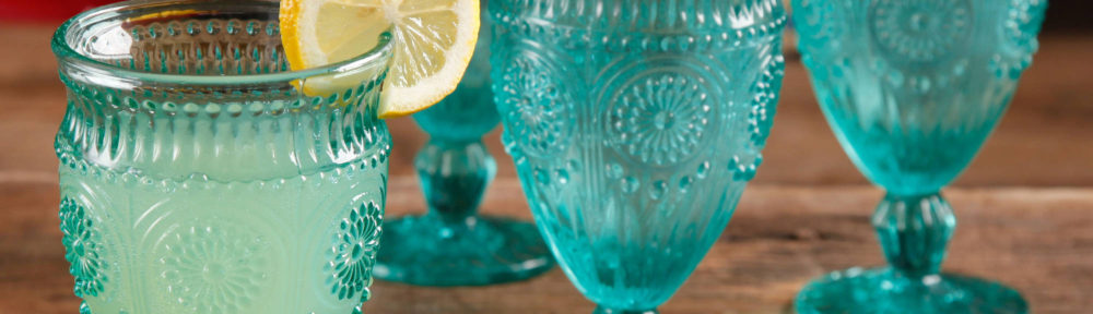 Turquoise Adeline Embossed Glass Goblets