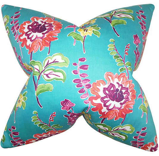 Turquoise and Pink Maven Pillow