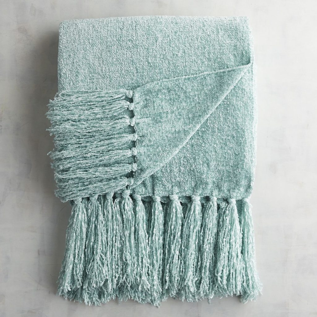 Aqua Chenille Throw