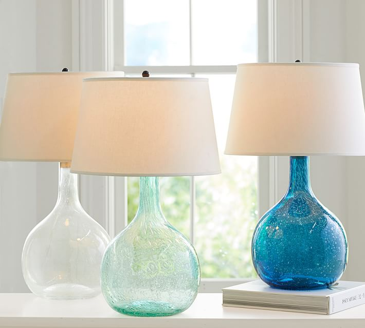 Welcoming White Kitchen Is Illuminated By Regina Andrew: Eva Colored Glass Table Lamp