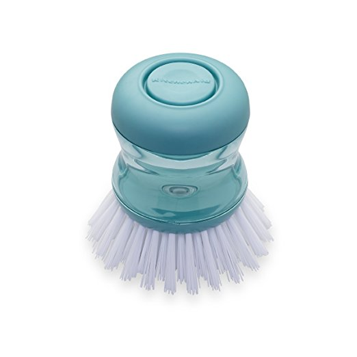 KitchenAid Soap Dispensing Palm Brush in Aqua Sky