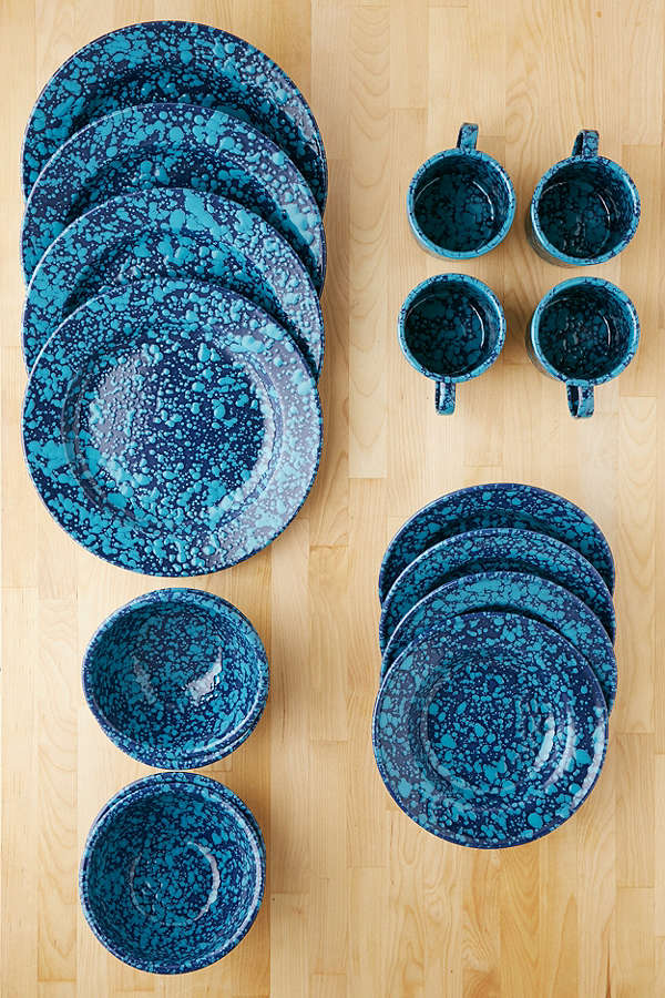 Teal 16-Piece Speckled Enamelware Starter Kit