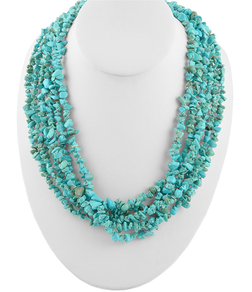 Turquoise Barse Genuine Stone Multistrand Necklace
