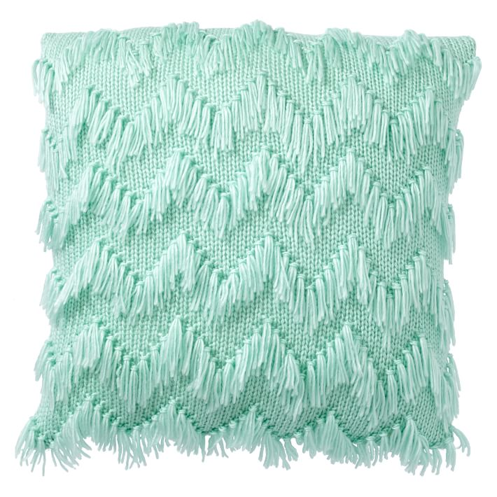Turquoise Shaggy Chevron Pillow Cover