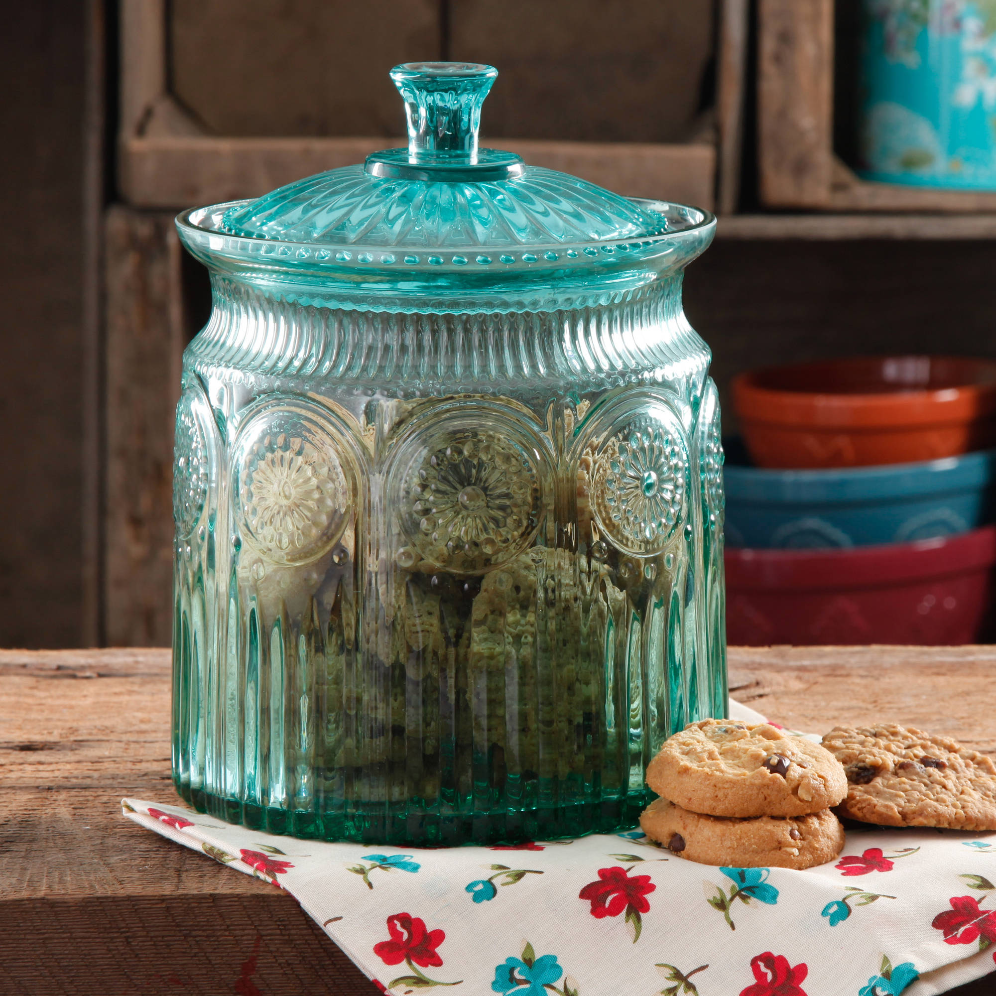 Turquoise Color Glass Jars For Kitchen Storage