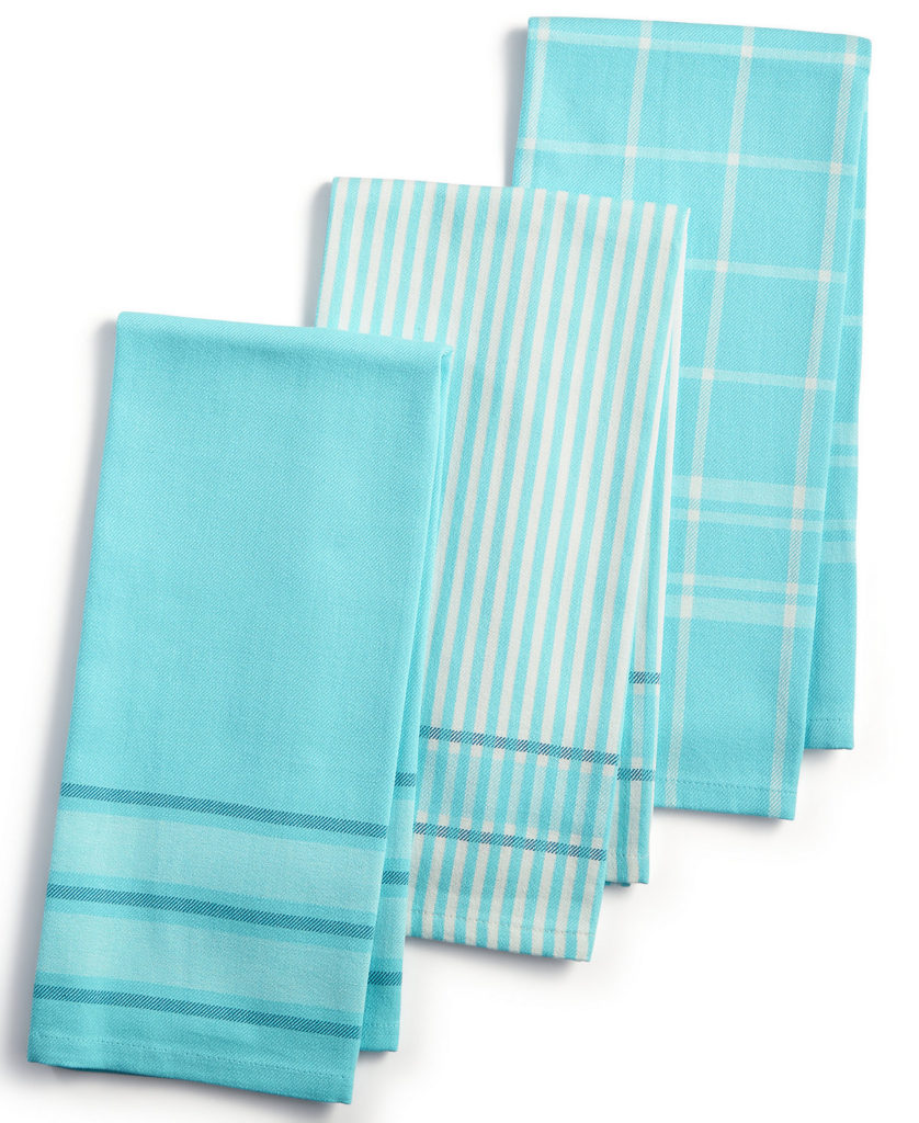 3-Pc. Jacquard Striped Cotton Kitchen Towels