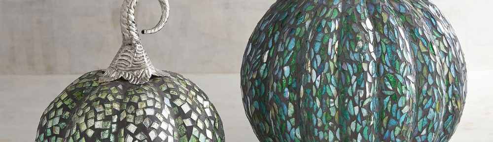 Blue & Green Mosaic Pumpkins