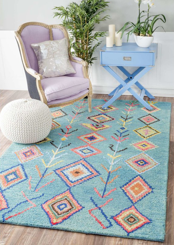Darvell Hand-Tufted Turquoise Area Rug