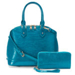 Deluxity 2-in-1 Eva Dome Turquoise Satchel with Wallet