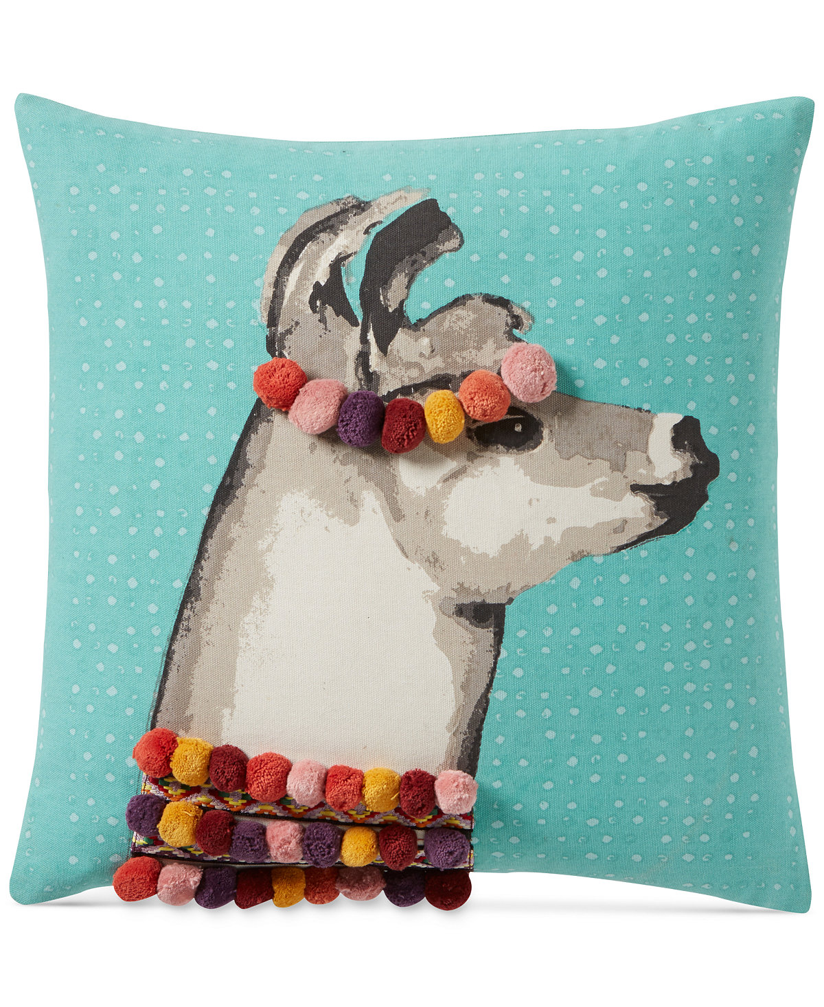 """Everything Turquoise: Pretty Llama 18"""" Square Decorative Pillow"""