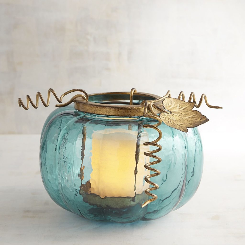 Teal Pumpkin Pillar Candle Holder