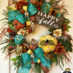Turquoise Fall Grapevine Wreath