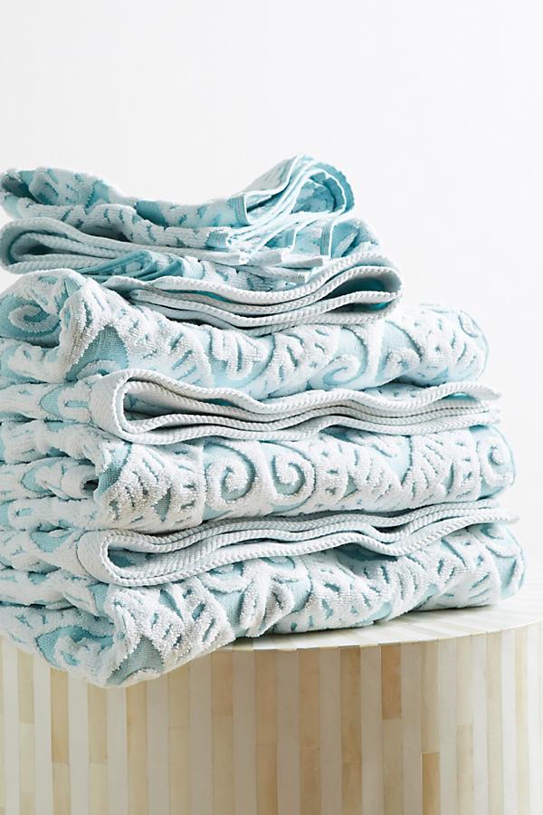Aqua Damask Towel Collection