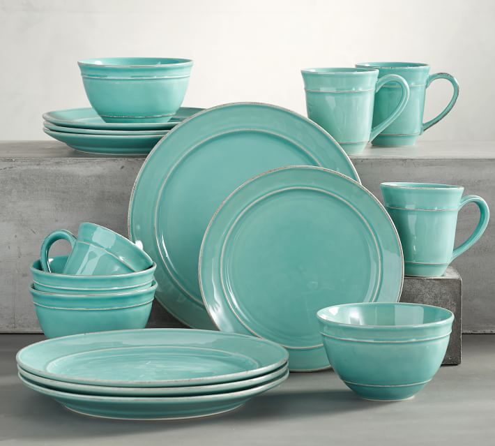 Next to plain white dishes this richly colored Cambria 16-Piece Dinnerware Set in Turquoise Blue brings warmth and appetizing ambiance to every meal. : turquoise dishes dinnerware - pezcame.com