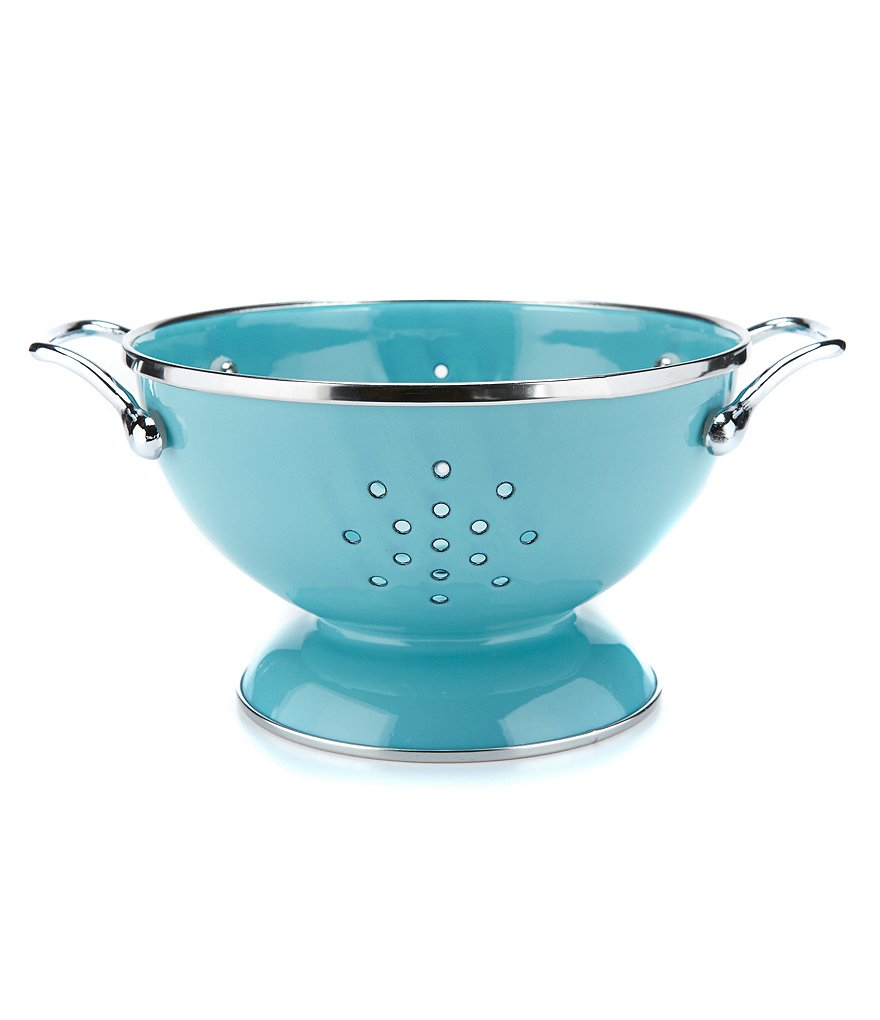 Turquoise Enameled Stainless Steel Mini Colander