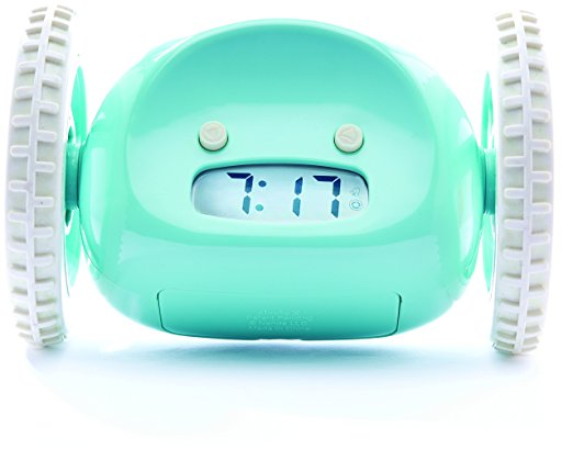 Aqua Clocky Alarm Clock on Wheels