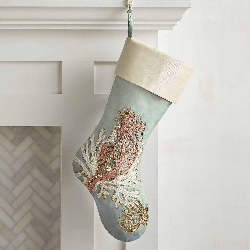 Embroidered Seahorse Stocking