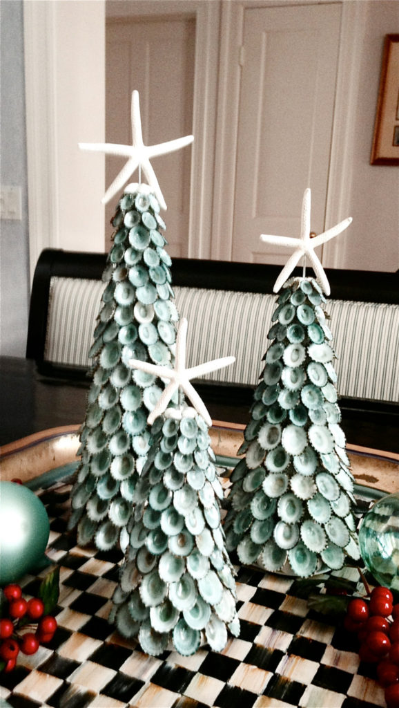 Natural Aqua Shells and Starfish Christmas Trees