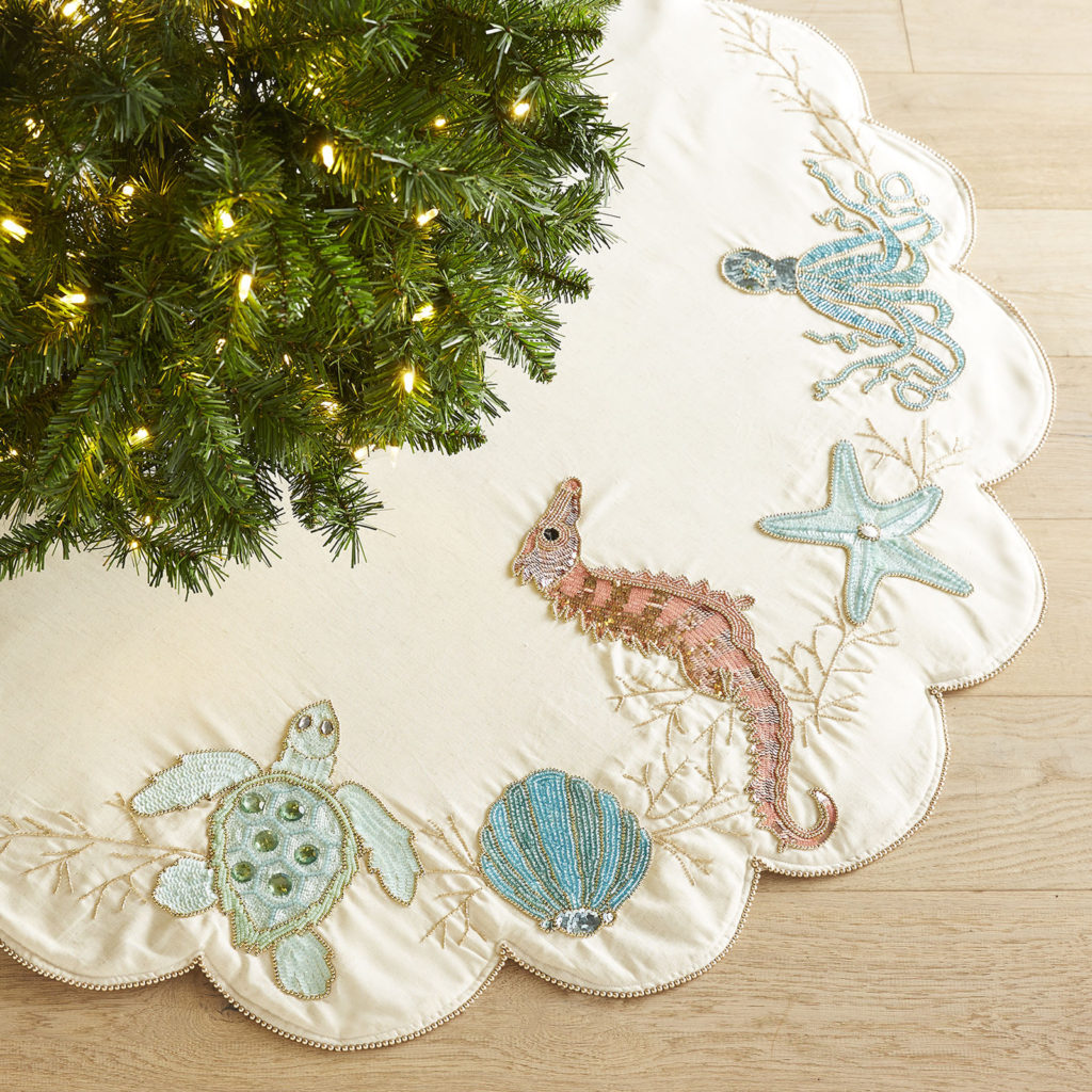 beaded sea creature coastal tree skirt - Coastal Christmas Decorations For Sale
