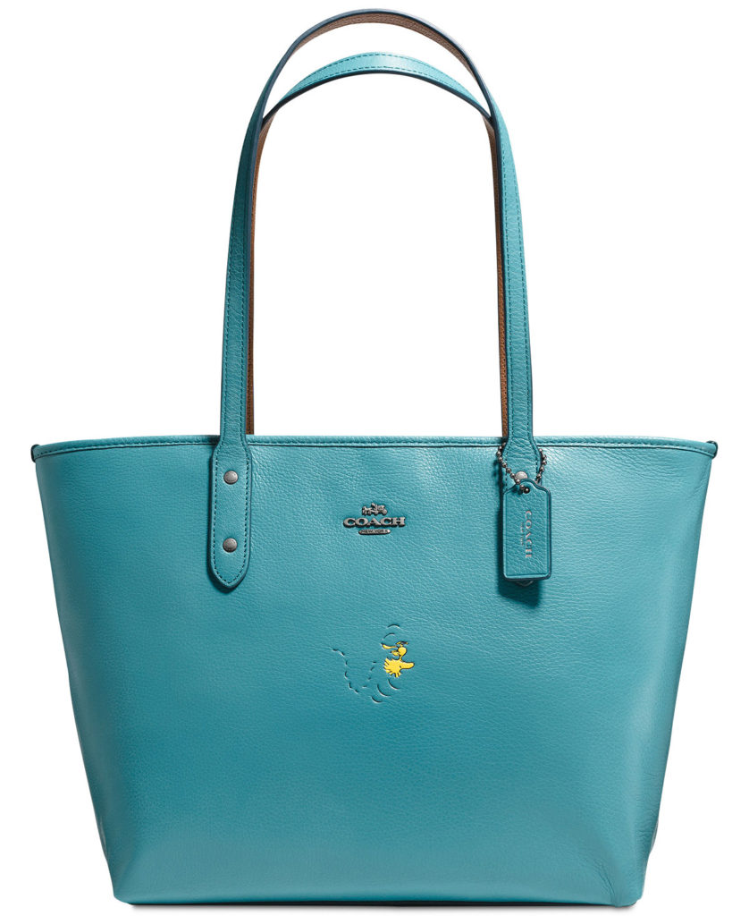 Coach Peanuts Tote in Refined Natural Pebble Leather with Snoopy