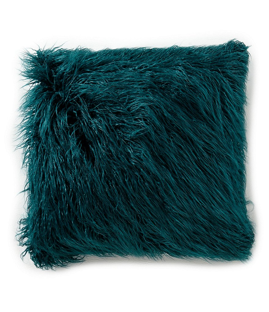 Teal Oversized Mongolian Faux-Fur Pillow