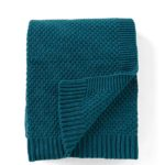Teal Textured Knit Cotton Throw