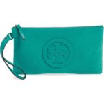 Tory Burch Turquoise Charlie Suede Wristlet Clutch