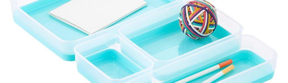Clear & Aqua Drawer Organizer Trays