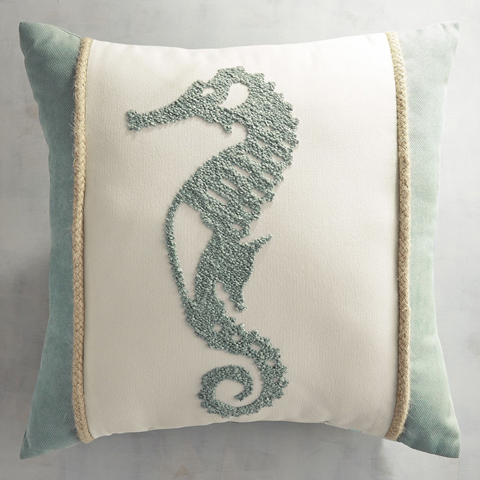 Maui Seahorse Embroidered Pillow