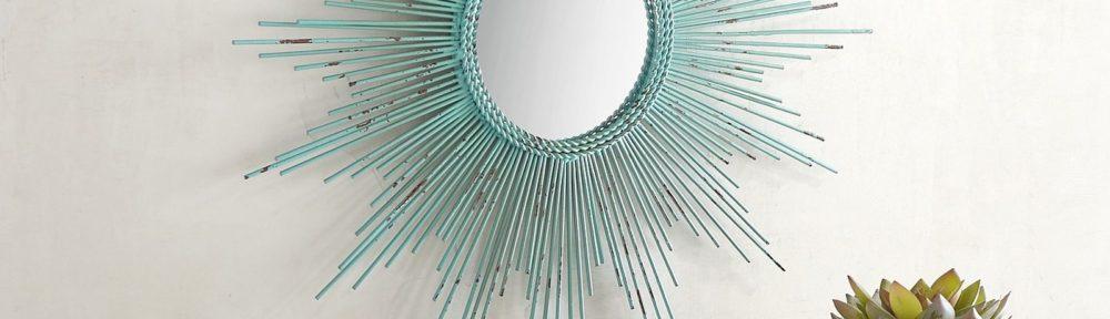 Petite Turquoise Burst Round Mirror