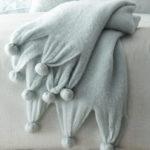 Pompom Robin's Egg Blue Throw Blanket